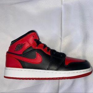 Nike Air Jordan 1 Mid GS Banned - Gym Red 4.5Y 6W